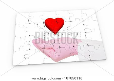 Heart over hand in medical glove on white background