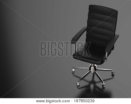 3d rendering black leather office chair on black background