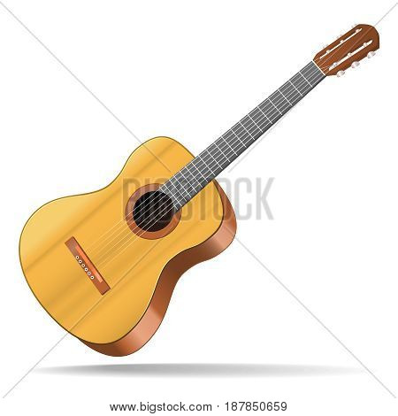 Realistic Detailed Acoustic Guitar Wood Musical Instrument for Blues, Jazz or Rock. Vector illustration