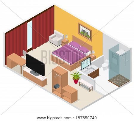 Interior Hotel Room Isometric View with Furniture and Equipment Comfortable and Classic Design. Vector illustration