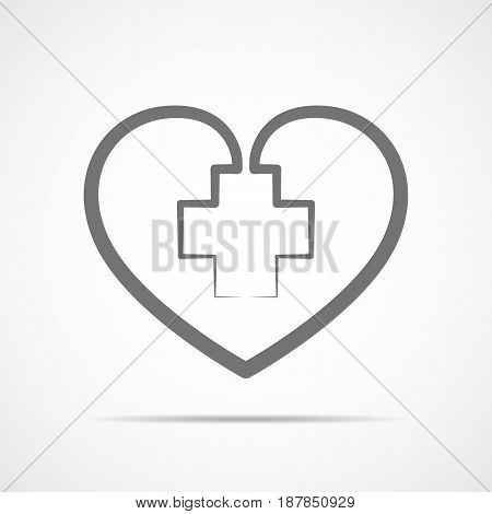 Medical cross inside in the heart symbol. Gray medical sign isolated on light background. Vector illustration. Abstract medical symbol.