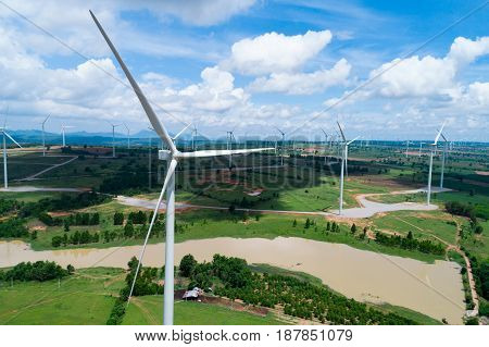 Wind turbine from aerial view. Sustainable development environment friendly concept. Wind turbine give renewable energy sustainable energy alternative energy. Wind sustainability energy. wind turbine power. wind turbine concept. wind turbine technology.