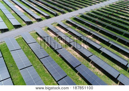 solar power station in the field by drone. Aerial view of Solar cell farm. Solar farm solar panels from the air. solar power concept. solar power aerial. solar power drone. solar power farm. solar power thailand. solar power station.