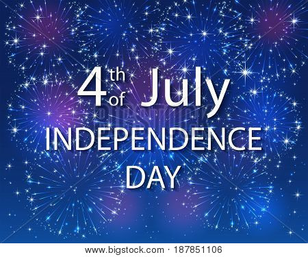 Colorful starry fireworks on dark sky. 4th of july. USA Independence day background, illustration.