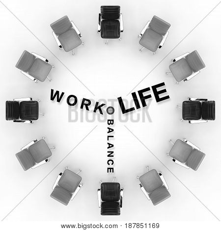 work life balance concept with 3d rendering office chair arrange in circular shape
