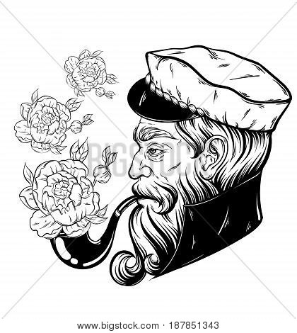 Vector hand drawn illustration of captain with pipe. Tattoo artwork in realistic style with flowers. Template for card poster banner print for t-shirt coloring books.