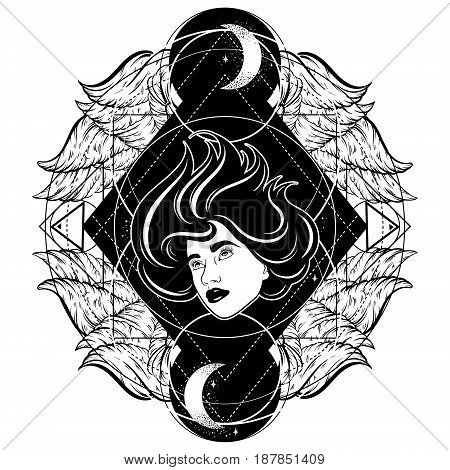 Vector hand drawn surreal illustration of woman face with wings moon and stars. Tattoo artwork. Template for card poster banner print for t-shirt.