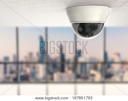 3d rendering security camera or cctv camera with office background