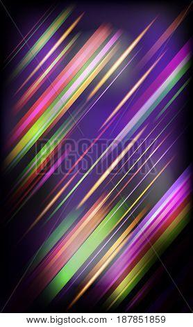 Striped abstract design on dark background. Vector illustration.