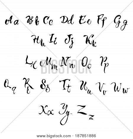 Handwritten lettering font aphabet. Vector illustration. Brush alphabet