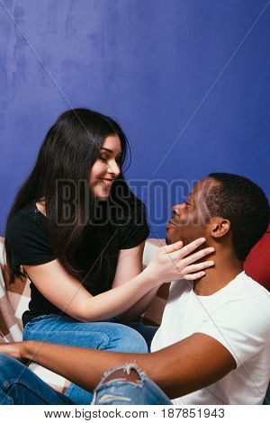 Couple Woman Man Black White International Relationship Love Tenderness Family Happiness Togetherness Leisure Concept