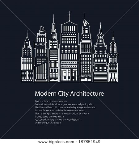 Poster White Modern Big City on Black Background and Text Architecture Megapolis with Buildings and Skyscraper City Financial Center in Line Style Brochure Flyer Design Vector Illustration