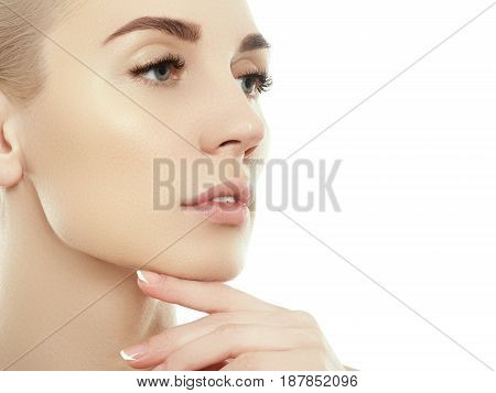 Beauty Woman Face Portrait. Beautiful Spa Model Girl With Perfect Fresh Clean Skin. Blonde Female Lo