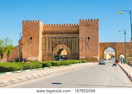 MEKNES,MOROCCO - APRIL 7,2017 - Gate Bab El-Khemis in Meknes. Meknes is one of the four Imperial cities of Morocco.