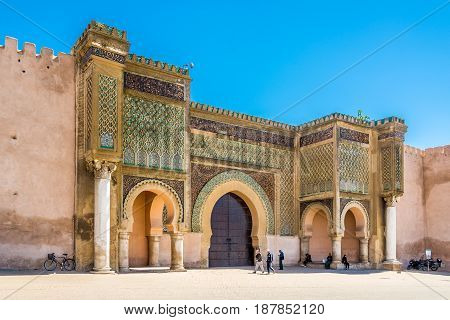 MEKNES,MOROCCO - APRIL 7,2017 - Gate Bab El-Mansour at the El Hedim square in Meknes. Meknes is one of the four Imperial cities of Morocco.