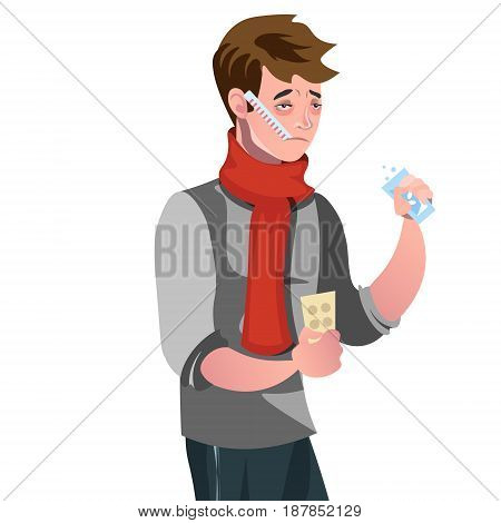 Sick man with a thermometer. Vector illustration
