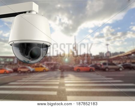 3d rendering security camera or cctv camera with cityscape background