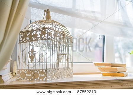 Closeup empty birdcage used for interior decoration