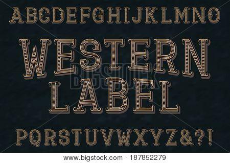 Western label retro font. Isolated english alphabet.
