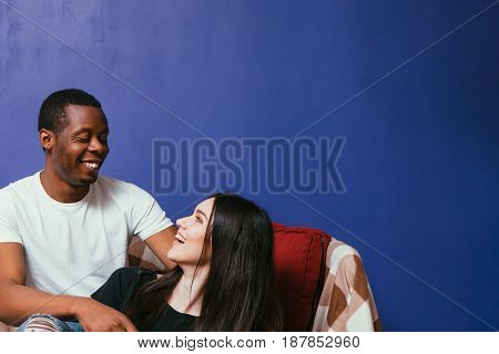 Man Woman White Black Couple Happy Smile Laugh Home Leisure International Relationship Family Fun Concept