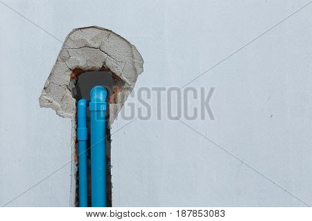 Water Pipe Pvc Plumbing Under Cement Wall In Construction Site Building