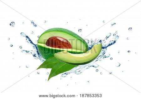 Avocado splash and water isolated on white