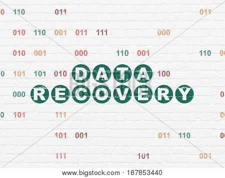 Information concept: Painted green text Data Recovery on White Brick wall background with Binary Code