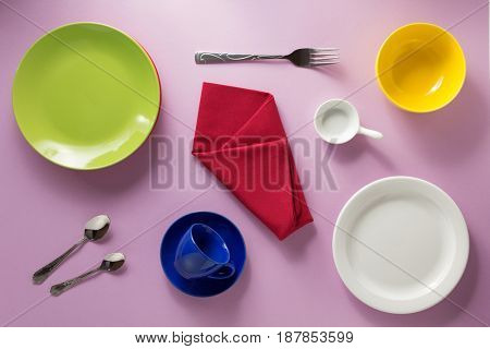 kitchenware at abstract colorful background