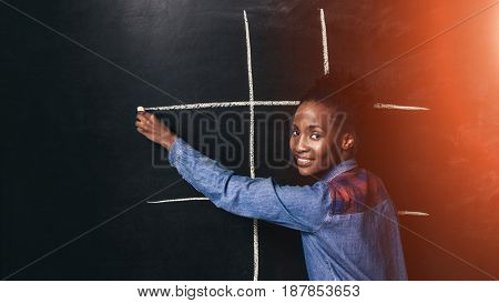 Woman Black Play Tic Tac Toe Game Fun Entertainment Afroamerican Happy Childhood Early Brain Development Teacher Concept