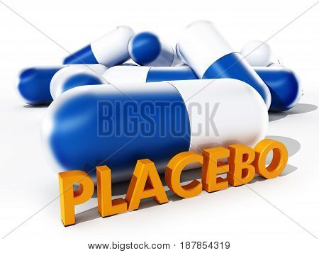 Placebo pill isolated on white background. 3D illustration.