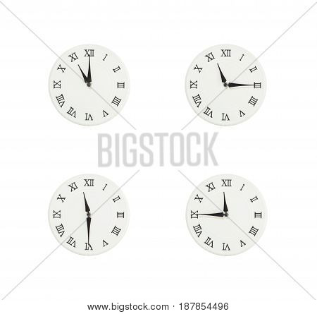 Closeup group of white clock with shadow for decorate show the time in 11 11:15 11:30 11:45 a.m. isolated on white background beautiful 4 wall clock picture in different time