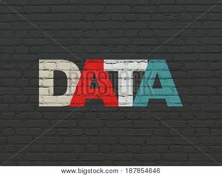 Information concept: Painted multicolor text Data on Black Brick wall background