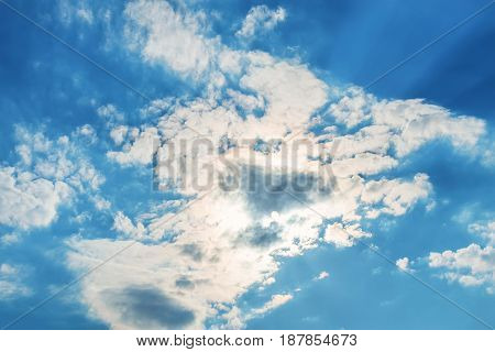 White clouds in blue sky on sunny day beautiful skyscape