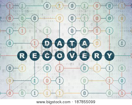 Data concept: Painted blue text Data Recovery on Digital Data Paper background with Binary Code