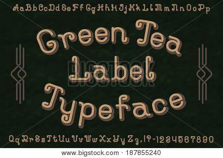 Green Tea Label Typeface font. Isolated english alphabet.