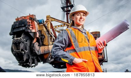 Coal mining engineer at an open pit