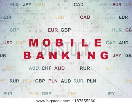 Banking concept: Painted red text Mobile Banking on Digital Data Paper background with Currency