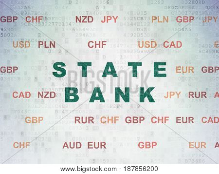 Money concept: Painted green text State Bank on Digital Data Paper background with Currency