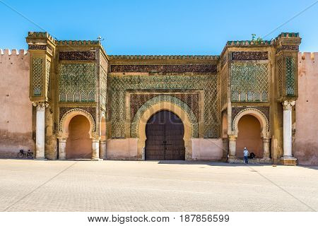 Gate Bab El-Mansour at the El Hedim square in Meknes Morocco