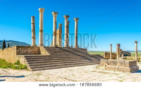 View at the Capitoline Temple in ancient city Volubilis in Morocco