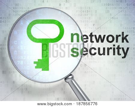 Safety concept: magnifying optical glass with Key icon and Network Security word on digital background, 3D rendering