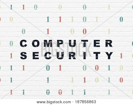 Protection concept: Painted black text Computer Security on White Brick wall background with Binary Code