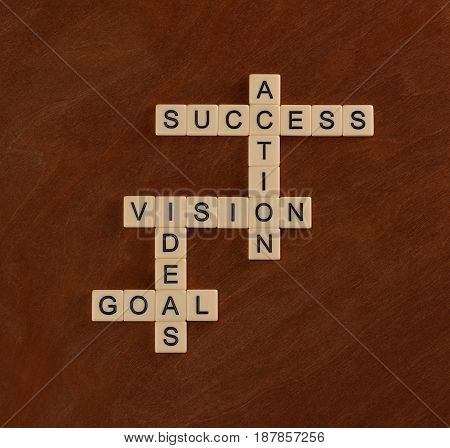 Crossword Puzzle With Words Goal, Ideas, Vision, Action, Success. Goal Planning Concept.