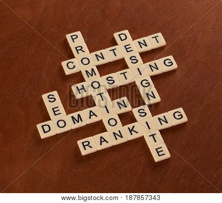Crossword Puzzle With Words Seo, Content, Site, Ranking. Web Site Creation Concept