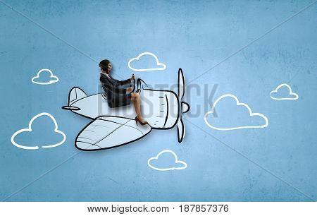 Aviator woman. Mixed media . Mixed media