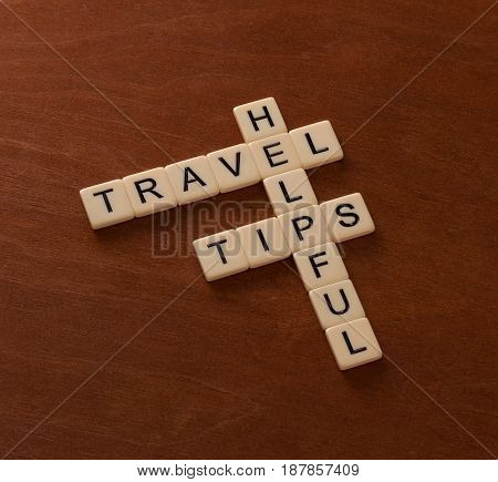 Crossword Puzzle With Words Helpful Travel Tips. World Travel Concept.