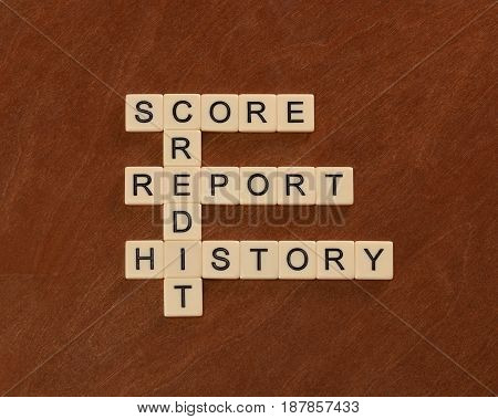 Crossword Puzzle With Words Credit, History, Report, Score. Credit Concept