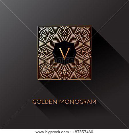 Golden elegant monogram with letter V. Template design for monogram label logo emblem. Vector illustration.