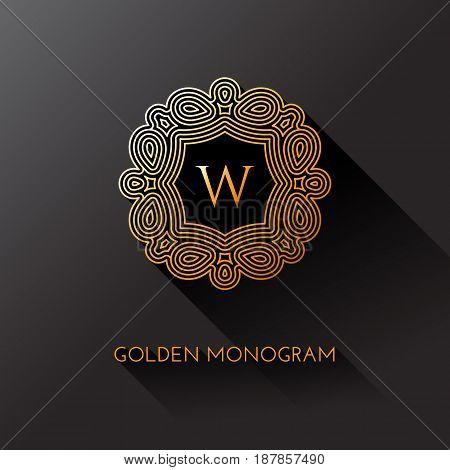 Golden elegant monogram with letter W. Template design for monogram label logo emblem. Vector illustration.