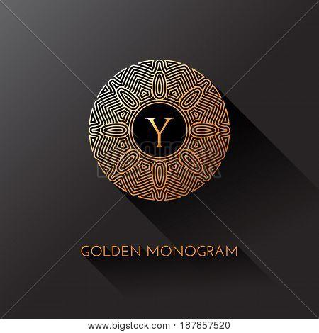 Golden elegant monogram with letter Y. Template design for monogram label logo emblem. Vector illustration.